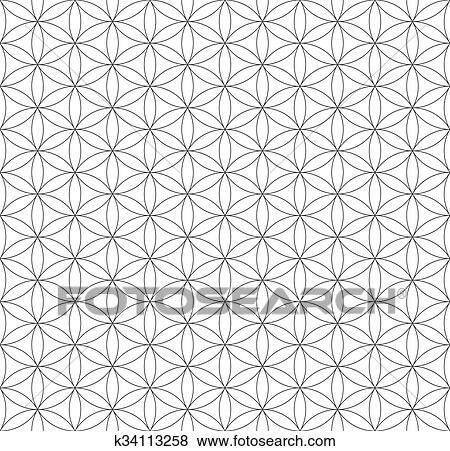 Black outline flower of life sacred geometry pattern Clip Art