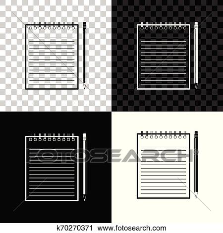 blank notebook and pencil with eraser icon isolated on black white and transparent background vector illustration clipart k70270371 fotosearch stock photography