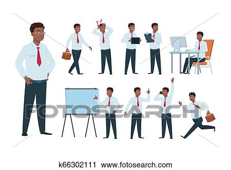 Businessman Character Afro American Office Professional Worker Man Success Person In Business Activity Cartoon Employee Vector Set Clipart