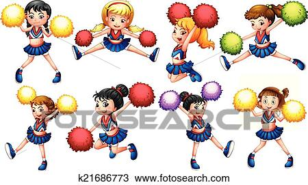 clipart of cheerleaders k21686773 search clip art illustration rh fotosearch com clip art cheerleader pom poms clipart cheerleader bow