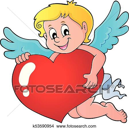 Cupid Holding Stylized Heart Image 1 Clipart K53590954 Fotosearch