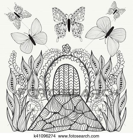 Clipart - fantasía, picture., flores, mariposas, y, door. k41096274 ...