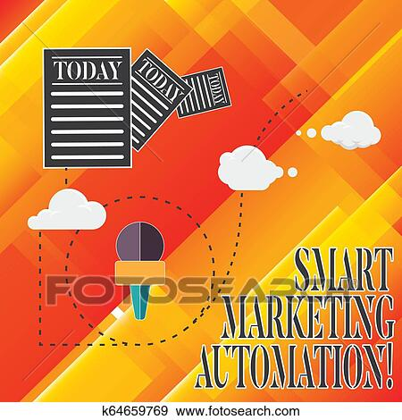 Handwriting text Smart Marketing Automation  Concept meaning Automate  online marketing campaigns and sales Information and Documents Passing thru