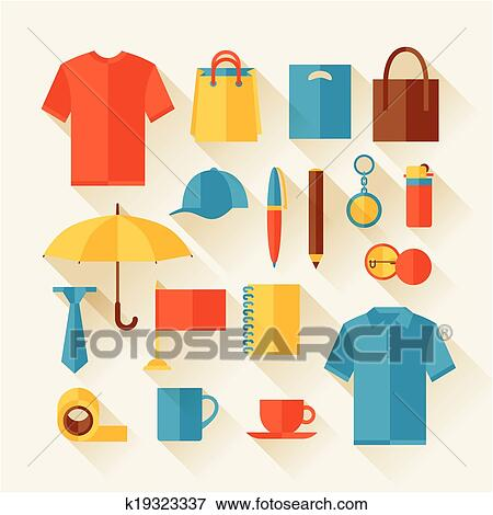 Icon Set Of Promotional Gifts And Souvenirs Clip Art K19323337 Fotosearch