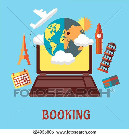 Clipart Of Online Travel And Booking Flat Concept K24935805