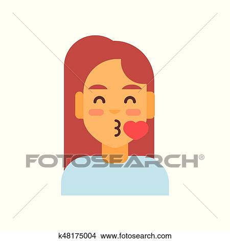 Clipart Of Profile Icon Female Emotion Avatar Woman Cartoon