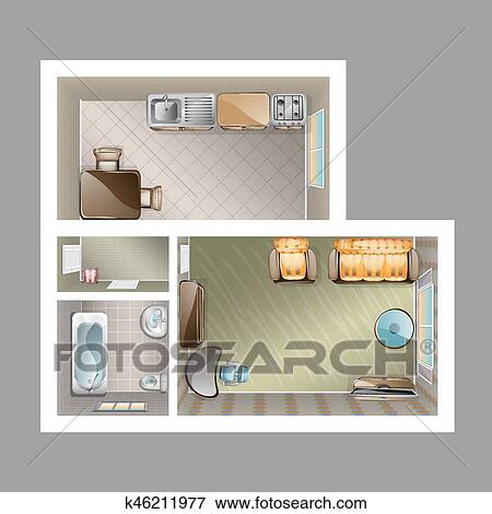 Clip Art Of Top View Apartment Interior K46211977 Search Clipart