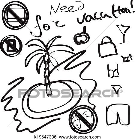 Clip Art Of Vacation Hand Drawn Infographic K19547336