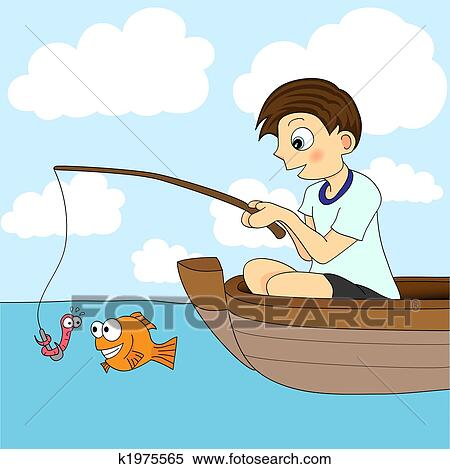clipart of boy fishing in a boat k1975565 search clip art rh fotosearch com boy with fishing pole clipart boy with fishing pole clipart