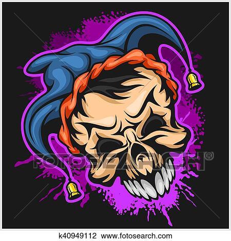 clipart of evil scary clown halloween monster joker character