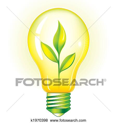 Clip Art Of Green Light Bulb K1970398