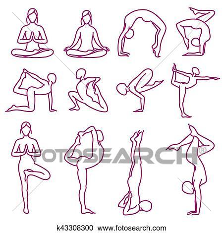 Ioga Poses Vetorial Silhuetas Pilates Condicao Fisica