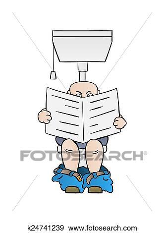Clip Art Mann Lese Zeitung Auf Toilette K24741239 Suche