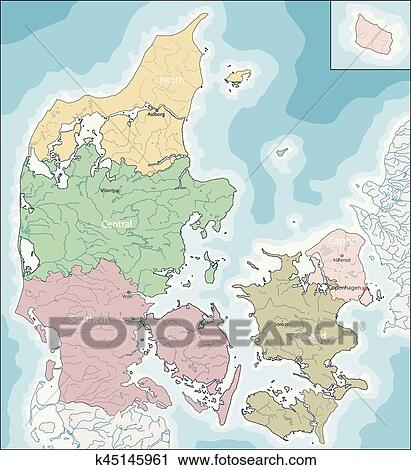 Map of Denmark Clipart