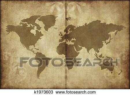 Drawing of old world map parchment paper k1973603 search clipart drawing old world map parchment paper fotosearch search clipart illustration fine gumiabroncs Images