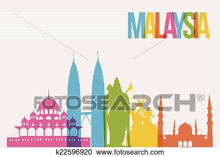 Clipart Of Travel Malaysia Destination Landmarks Skyline Background