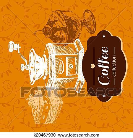 c9c4dfc44e Clipart - vendimia, café, fondo., mano, dibujado, bosquejo, illustration