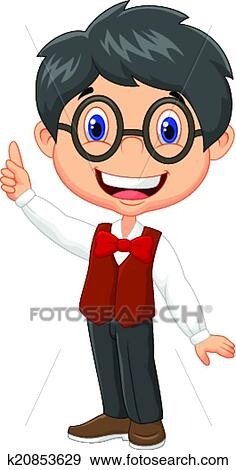 Cartoon boy with glasses