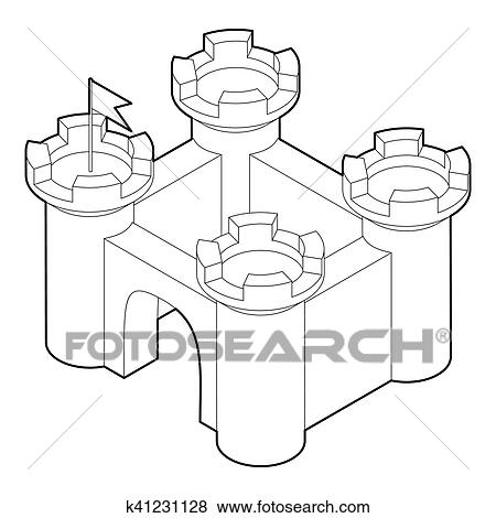 Stock Illustration Of Castle Icon In Outline Style K41231128