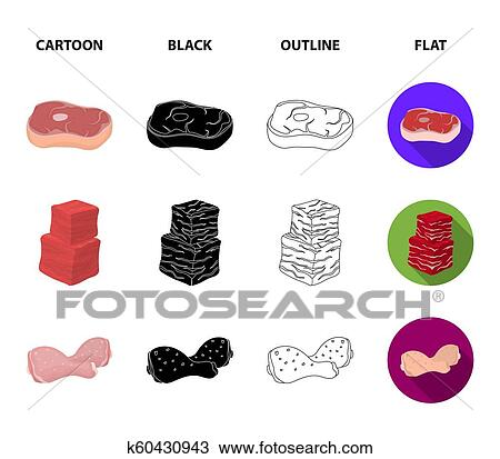 chicken wings ham raw steak beef cubes meat set collection icons in cartoon black outline flat style bitmap symbol stock illustration web drawing k60430943 fotosearch fotosearch