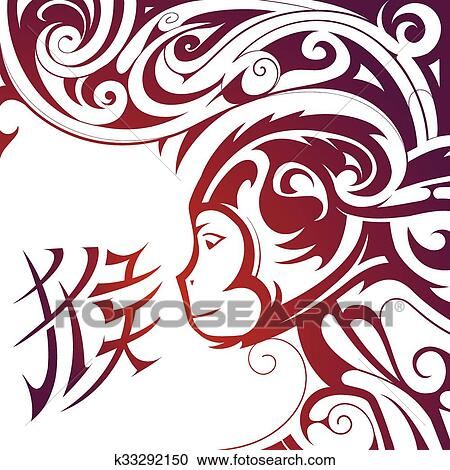 Clipart Of Chinese New Year Monkey Symbol K33292150 Search Clip