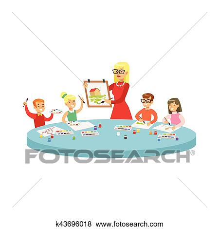 Clip Art of Four Children In Art Class Painting Cartoon Illustration ...