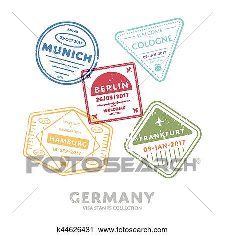 Clipart Of International Travel Visa Stamps K44626431