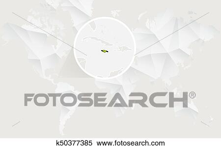 Jamaica map with flag in contour on white polygonal World ...