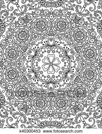 Vector Seamless Abstract Black And White Tribal Pattern Hand Drawn Ethnic Texture Page For Adult Antistress Coloring Book
