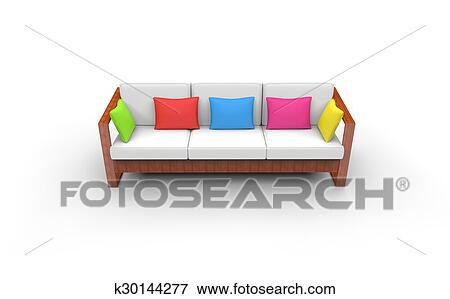 Admirable Kids Room Bright Sofa Front View Stock Illustration Creativecarmelina Interior Chair Design Creativecarmelinacom