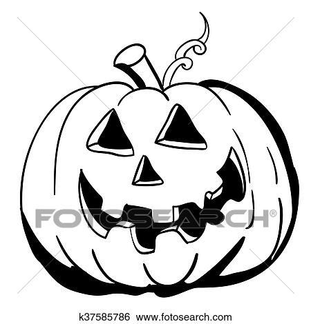 Clip Art - negro y blanco, halloween, calabaza k37585786 - Buscar ...
