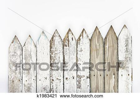Old White Picket Fence Faded And Worn