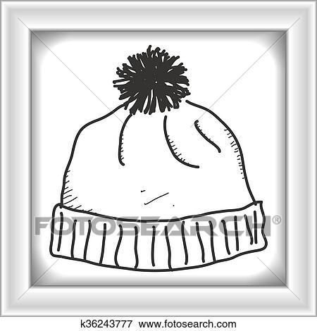 Clipart , simple, griffonnage, de, a, bonnet pompon