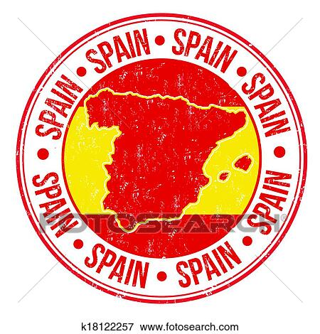 Grunge Rubber Stamp With Spanish Flag Map And The Word Spain Written Inside Vector Illustration