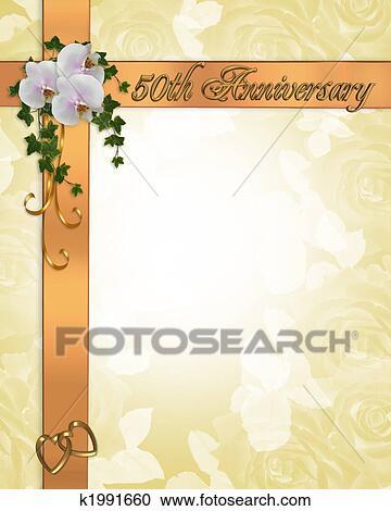 50th Anniversary Invitation Clipart K1991660 Fotosearch