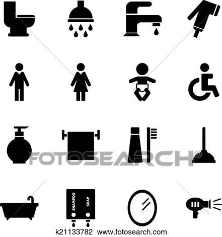 Badezimmer, symbol Clipart