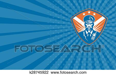 Business card Policeman Security Guard Police Officer Crest Drawing