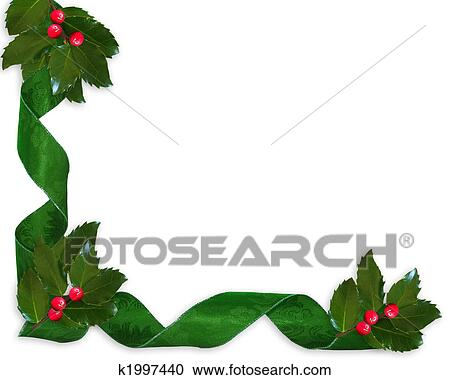 Christmas Holly Clip Art.Christmas Holly And Ribbons Border Clipart