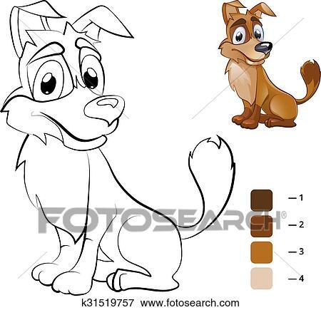 Clip Art - color, dog., libro colorear, para, preescolar, niños ...
