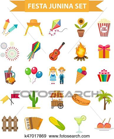Clip Art Of Festa Junina Set Icons Flat Style Brazilian Latin
