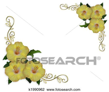 Clip Art Of Hibiscus Flowers Border Design K1990962 Search Clipart