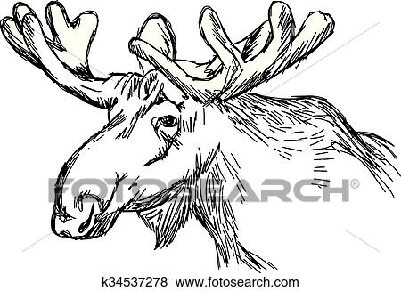 Clip Art Of Illustration Vector Doodle Hand Drawn Of Sketch Moose