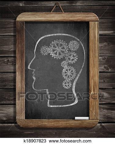 Dessin cerveau humain m canisme dents et engrenages dessin par craie sur tableau - Tableau noir craie grand format ...