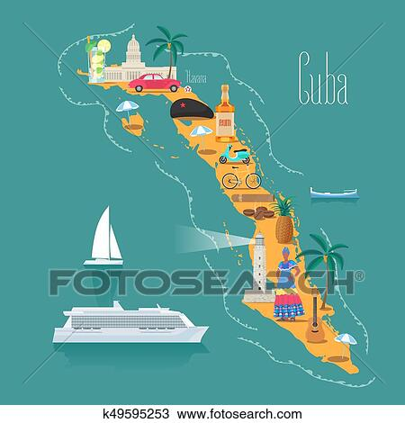 Landkarte Von Kuba Vektor Abbildung Design Clipart