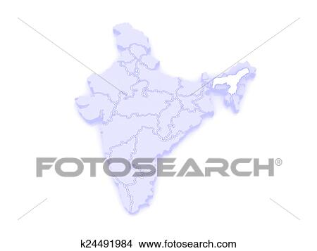 Drawings Of Map Of Assam India K24491984 Search Clip Art