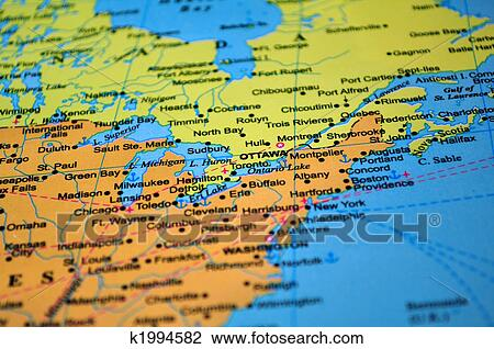North America: map of Canada and the United States. Stock Image