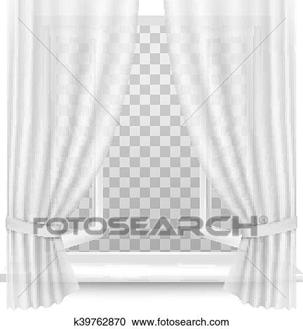 Open Window With Curtains On A Transparent Background