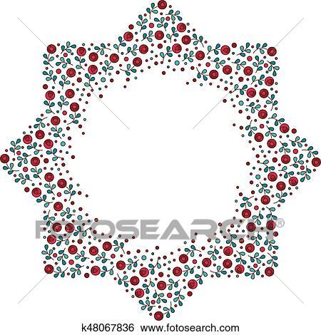 Clip Art of Patterned octagonal star, floral frame k48067836 ...