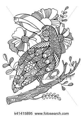 Clipart Tukan Vogel Ausmalbilder Für Erwachsene Vektor