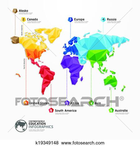 Clip art of world map illustration infographics geometric concept clip art world map illustration infographics geometric concept design vector template fotosearch gumiabroncs Gallery